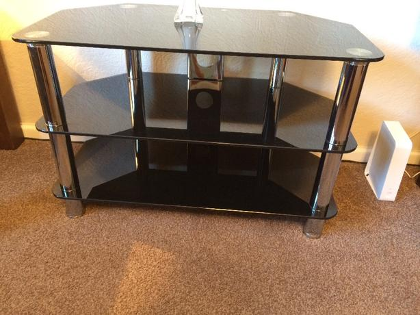 black glass corner tv stand