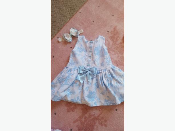 Blue Spanish dress with bow and socks