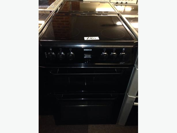 BEKO 60CM BLACK DOUBLE OVEN FAN ASSISTED ELECTRIC COOKER