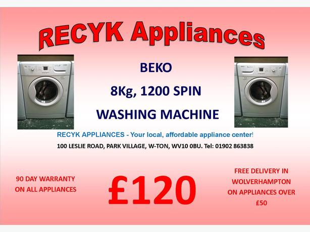 BEKO 8Kg 1200SPIN WASHING MACHINE WITH FREE DELIVERY IN WOLVERHAMPTON