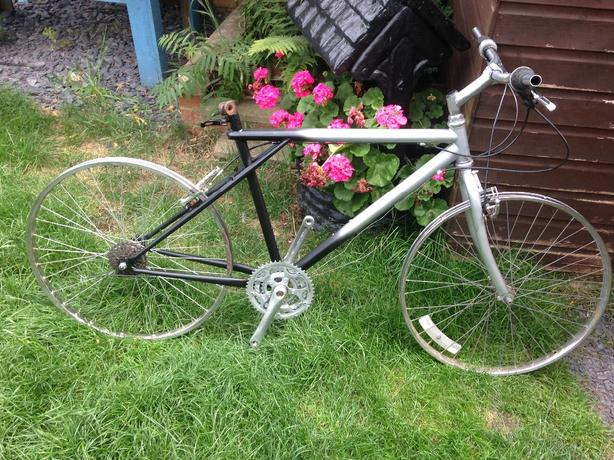 2 mountain bikes frame forks