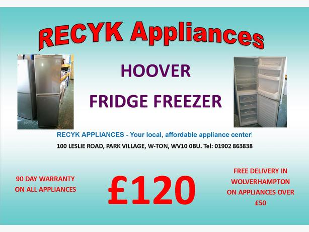 HOOVER SILVER FRIDGE FREEZER WITH GUARANTEE