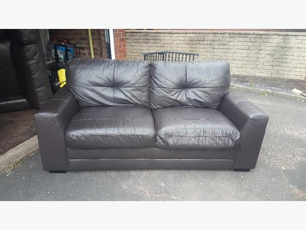 2 brown lether sofas