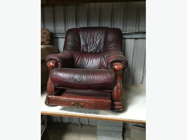 red leather swivel chair with draw