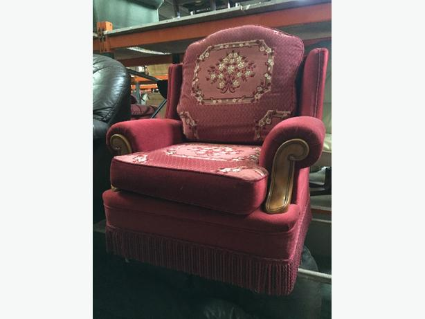 red 3 seater and armchair