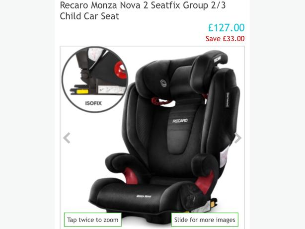 2 Recaro isofix Monza Nova car seats £65 each