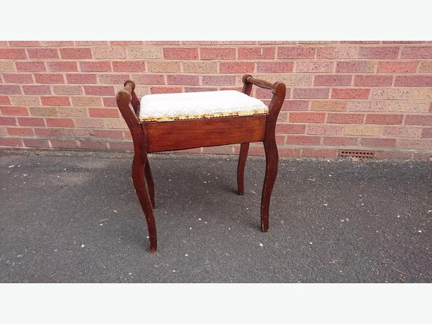 VINTAGE STYLISH WOODEN PIANO STOOL UPHOLSTERED HINGED SEAT STORAGE