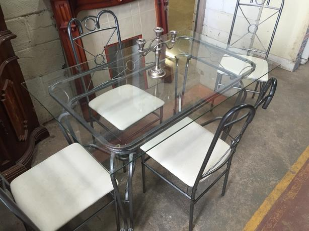 metal dining table with glass top and 4 chairs