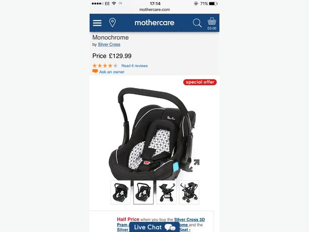 silver cross baby car seat & isofix base