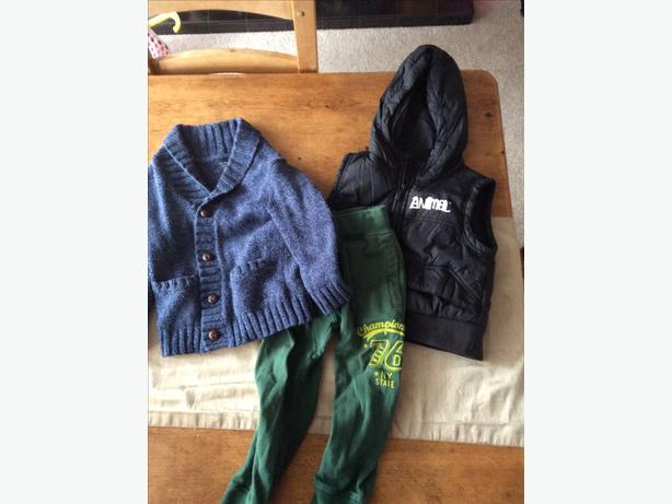 Boys cardi, gilet and track suit bottoms aged 2 years