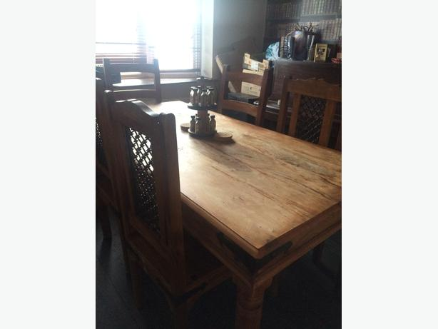 Solid Indian Oak Dining Table and 6 chairs 163200 ono  : 105830074614 from www.usedwolverhampton.co.uk size 614 x 461 jpeg 22kB