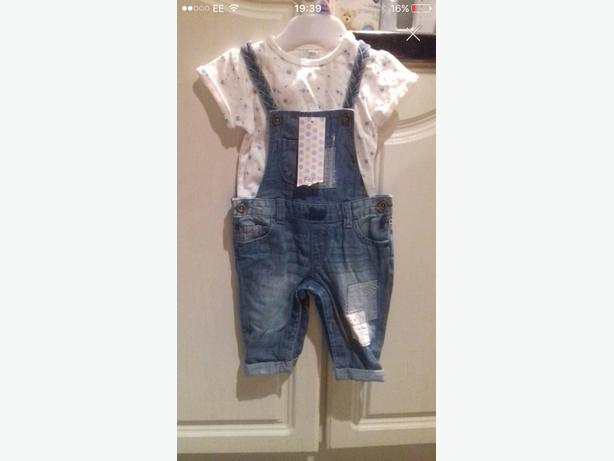 dungeree girls set -3-6 months bnwt