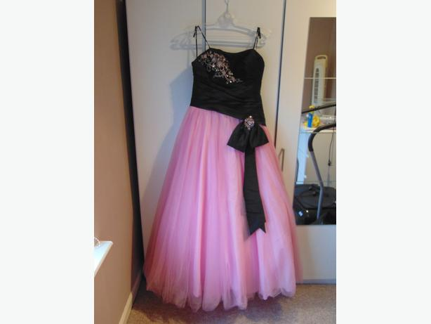 Gorgeous Princess Pink & Black Prom Dress