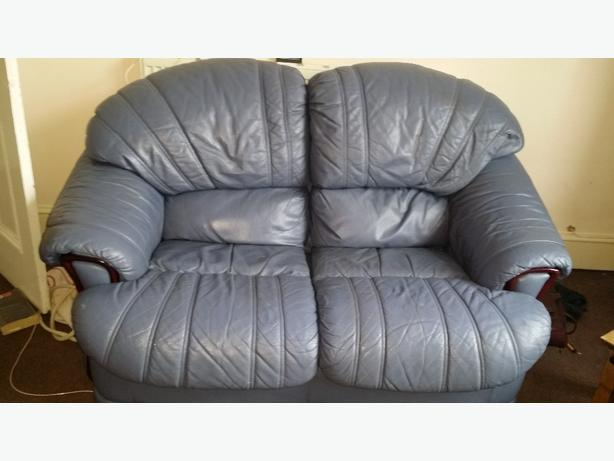blue leather 2 seater sofa