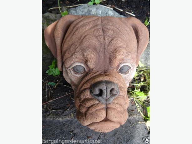 Stone Animal Brown Boxer Dog Head Plaque Garden Home Wall Hanging Plaque