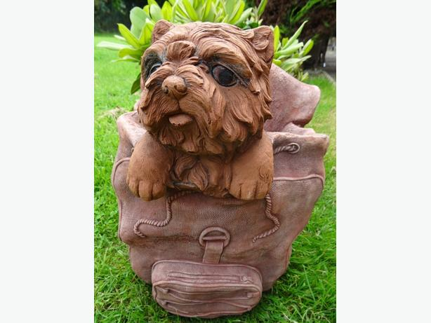 Stone Terrier Dog Called Rose In Backpack Bag Garden Balcony Trough Planter