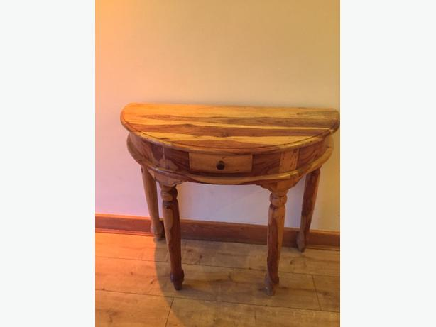solid wood half moon table
