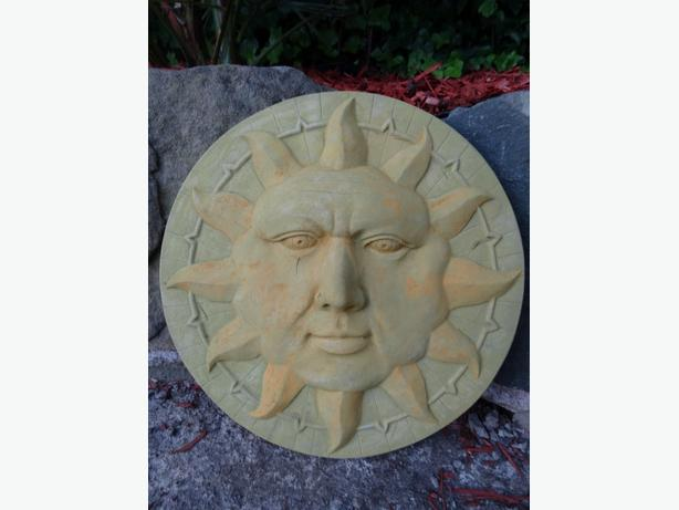 Vintage Stone Sun Face Garden Home Wall Plaque Sign Architectural