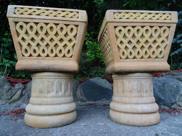 Pair Antique Style Middle East Persian Desert Stone Pot Planters On Plinths