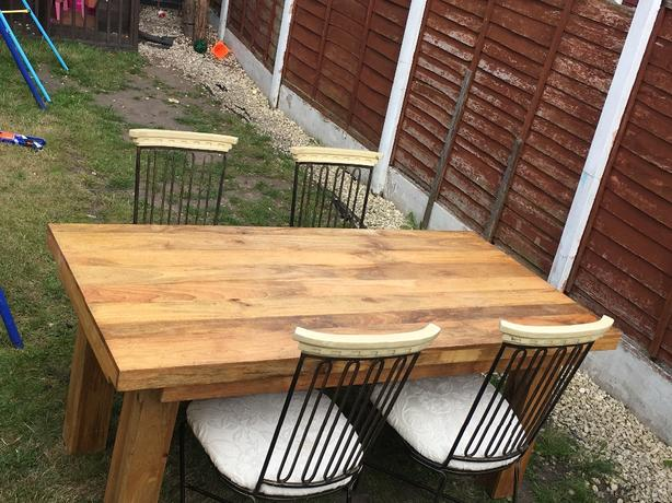 solid oak large dining table and 4 chairs