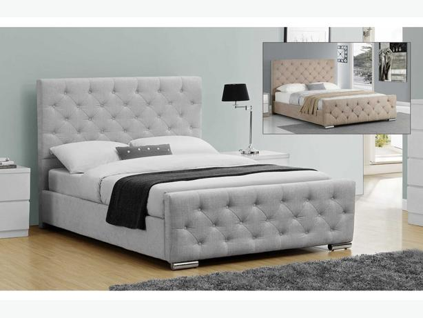 Fabric Bed Champagne or Grey