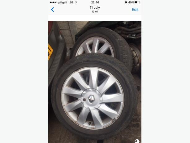 "RENAULT ALLOYS X2 + LEGAL TYRES 16"" 4 STUD PCD 4x100 BORE 60.1 205/55/R16"
