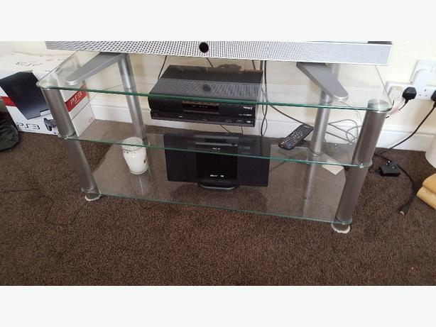 2 tier glass television table