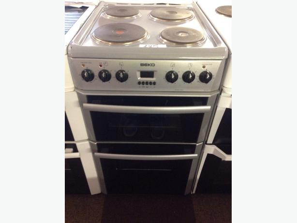 GRAPHITE GREY BEKO 50CM DOUBLE OVEN ELECTRIC COOKER