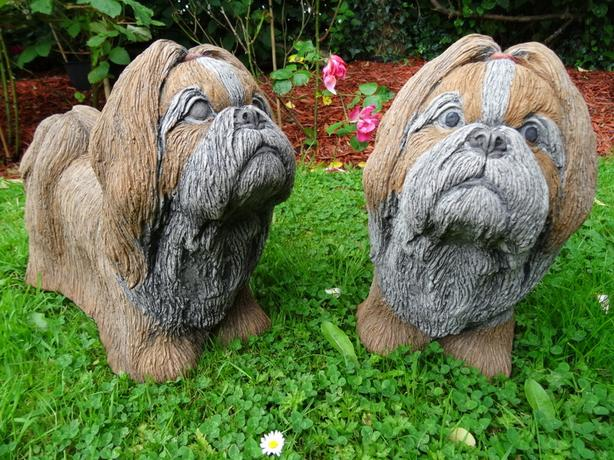 Pair Vintage Lifesize Stone Shih Tzu Dog Garden Statues Called Brandy & Biscuit