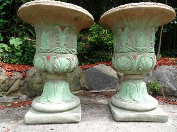 Pair Large Vintage French Rococo Stone Garden Planter Vase Urns On Plinths