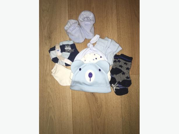 Baby boy hats and socks.