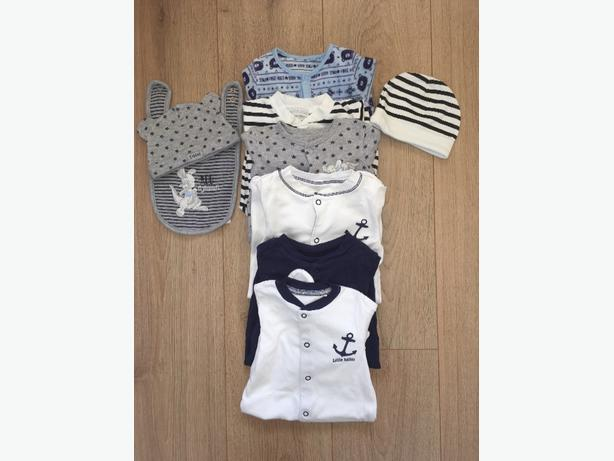 Baby Boy sleep suit and vest bundle.