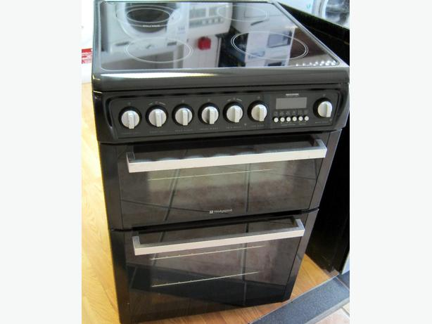 Hotpoint 60cm Black Electric Cooker, Ceramic Hob, Fan Oven, 6 Month Warranty