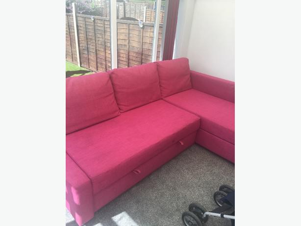 pink ikea corner sofa bed
