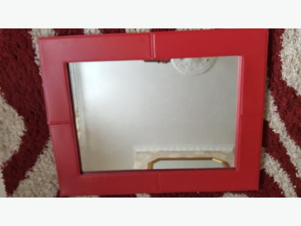 red faux leather mirror
