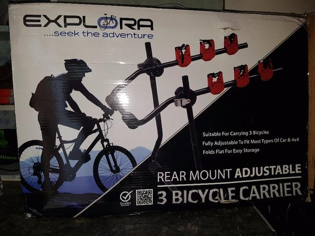 universal 3 rear mount bicycle rack.