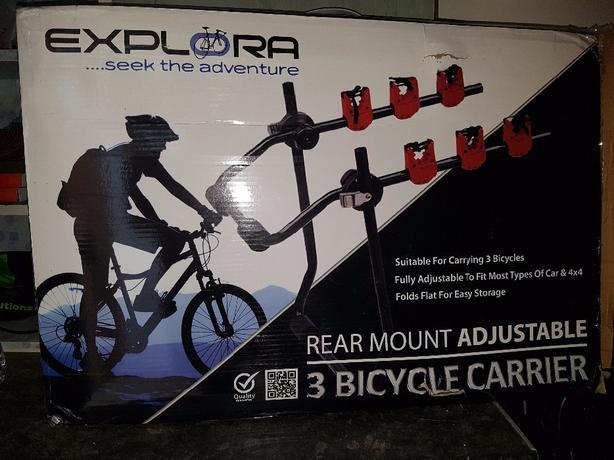 universal 3 rear mount bicycle rack.