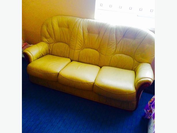 Italian real leather 3 seater sofa cream
