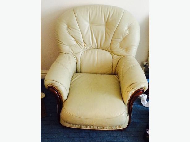 Italian cream real leather arm chair