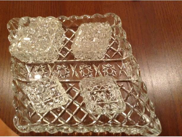Glass Dressing Table Tray and Trinket Containers
