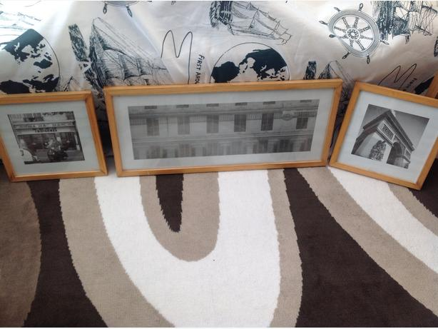 3 black & white prints in frames