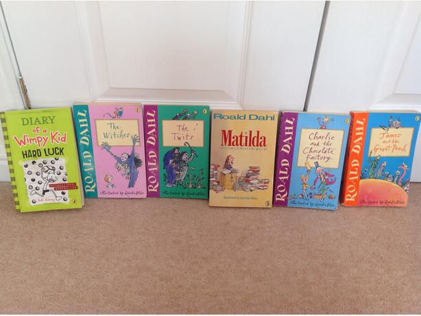 6 books incl diary of wimpy kids & Roald dhal