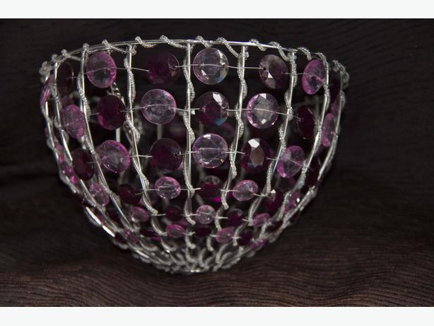 Glass Bead Ceiling Lampshade in Pink