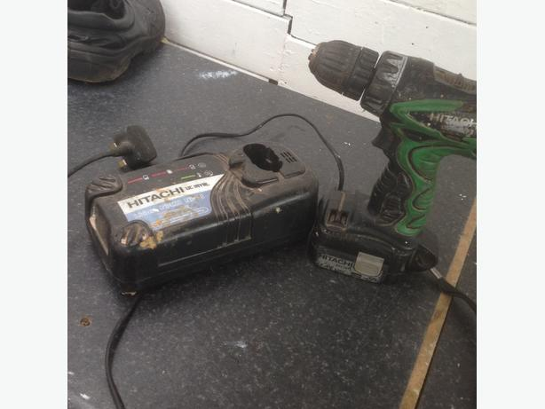 hitachi battery powers back drill
