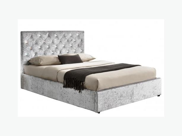 Diamante Studded Ottoman Storage Crushed Silver Fabric Bed