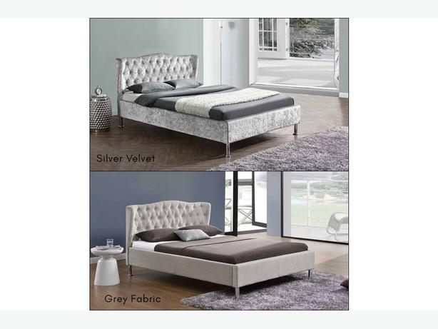 Sandringham Winged Headboard Bed Grey Fabric or Crushed Silver