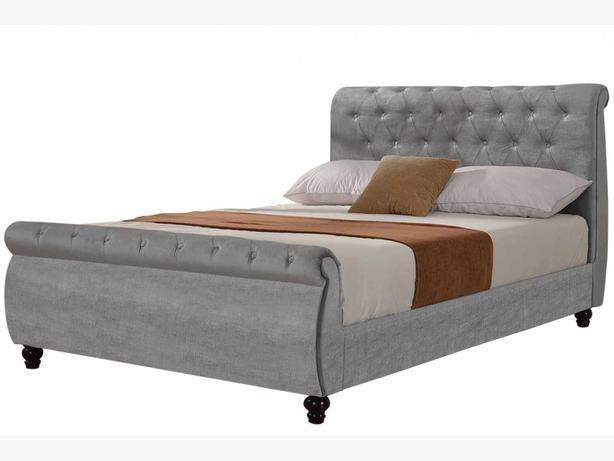 Windsor Upholstered Silver Velvet Fabric Sleigh Bed