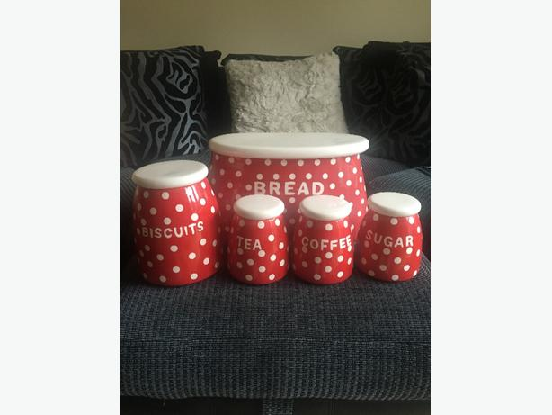 set of red polka dot kitchen accesories