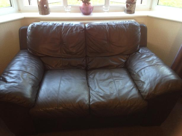 2 seater brown leather sofa