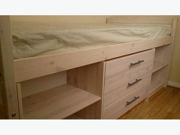 3ft single cabin bed with drawers and mattress vgc for Single bed with drawers and mattress